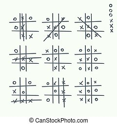 Hand drawn tic-tac-toe elements. Grid game, cross, toe....
