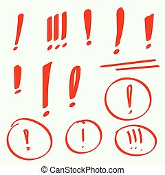 Set hand drawn Exclamation mark. Attention sign icon. Hazard...