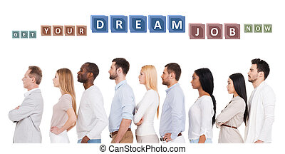 Find your dream job Side view of confident diverse group of...