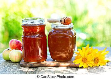Jarros, de, mel, ligado, madeira, tabela,