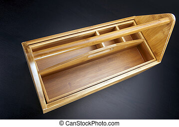 Wooden toolbox with tools
