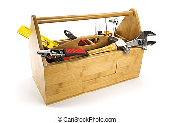 Wooden toolbox with tools isolated