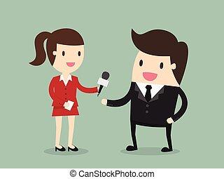 Interview - Female Journalist Interviewing Businessman