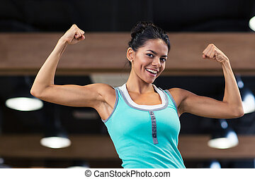 mostrando, mulher,  bíceps, dela, esportes