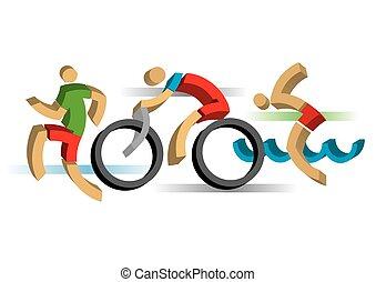 3D design Triathlon athletes