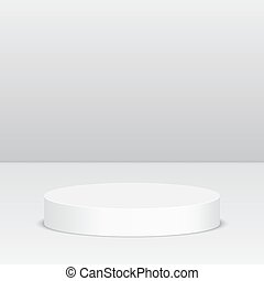 Round pedestal for display. Platform for design. Realistic...