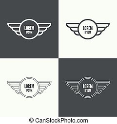 Badge with wings. - Badge and shield with wings. Symbol of...