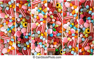 photo collage of colorful candies