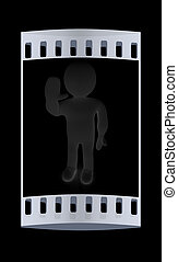 3d man isolated on black Series: human emotions - greeting...