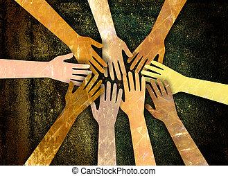 Community of Hands - A grunge textured digital illustration...