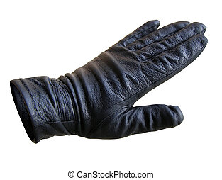 hand in a glove - hand in a black leather glove isolated...