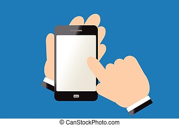 smart phone - Finger of hand touching screen on smart phone.