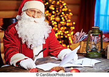 Christmas Eve - Santa Claus looking at camera while reading...
