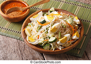 Gado Gado Indonesian vegetable salad close-up horizontal -...
