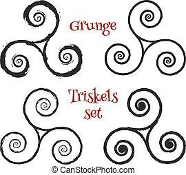 Grunge brush drawn vector triskels set - Grunge brush drawn...
