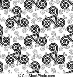 Black and white celtic triskels seamless pattern - Black and...