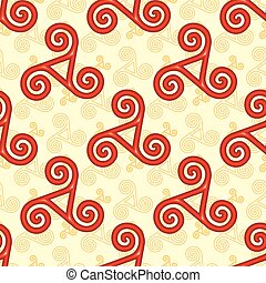 Red and yellow celtic triskels seamless pattern - Red and...