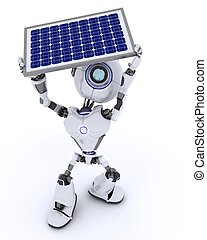 Robot with a solar panel - 3D render of a Robot with a solar...