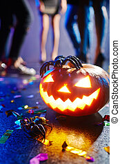 Halloween lamp - Jack-o-lantern and spider at nightclub