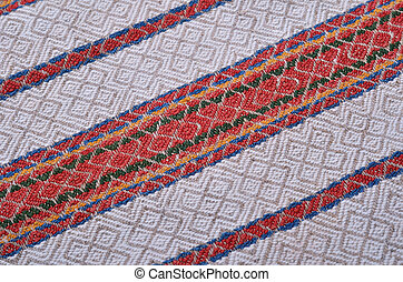 Close-up of the homespun woven cloth - Texture of the...