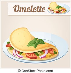 Omelette with vegetables. Detailed Vector Icon. Series of...