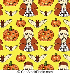 Sketch Halloween seamless pattern in vintage style, vector...