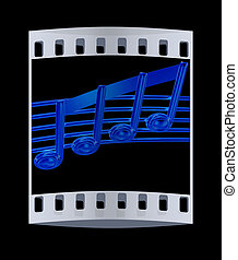 3D music note on staves on a black The film strip