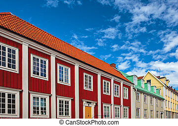 Ancient wooden houses in Karlskrona, Sweden - Row of ancient...