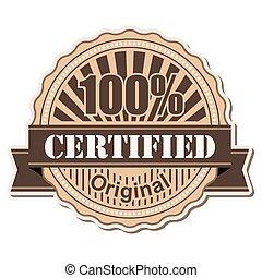 label Certified; vintage style design