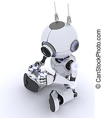 Robot Playing Computer Games - 3D render of a Robot Playing...