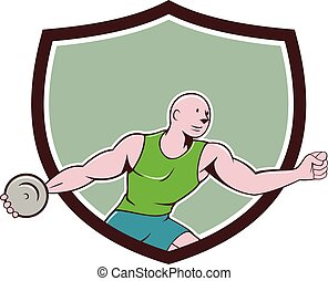 Discus Thrower Crest Cartoon - Illustration of a discus...
