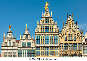 Ancient guild houses in Antwerp center, Belgium - Ancient...