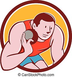 Shot Put Track and Field Athlete Circle Cartoon