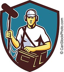 Soundman Film Crew Microphone Crest Retro - Illustration of...