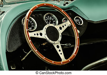 Interior of a classic kit car convertible