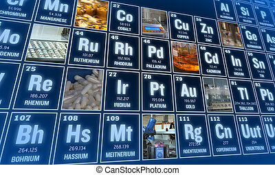 Periodic table of elements and laboratory tools. Science...