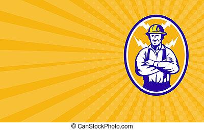 Business card Electrician Construction Worker Lightning Bolt