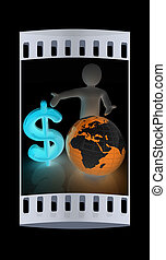 3d people - man, person presenting - dollar with global...