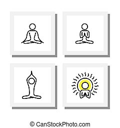 set of yoga and meditation postures - vector icons this also...