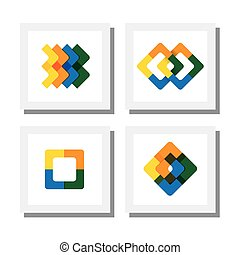 set of colorful logo designs of geometric shapes like squares - vector icons