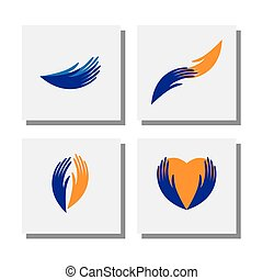 set of hands of care, support, charity, love - vector icons...