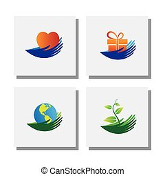 set of hands of nature love, protect environment - vector icons