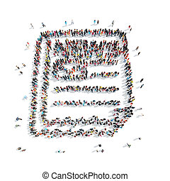 people shape certificate cartoon - A group of people in the...