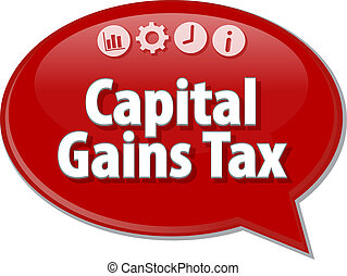 Capital Gains Tax Business term speech bubble illustration -...