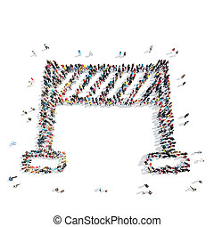 people shape finish sports cartoon - A group of people in...