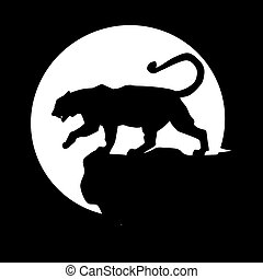 Black tiger is walking in front of the moon
