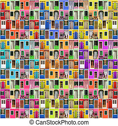 abstract house - photo montage of many colorful images with doors