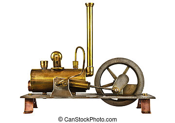 Vintage steam engine isolated on white - Vintage steam...