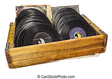Retro styled image of a wooden box with vinyl lp records -...