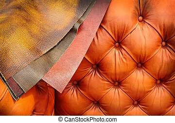 Couch with examples of leather coverings - Chesterfield...